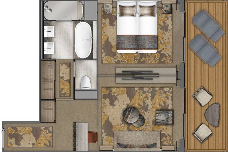 Explorer Suite, Deck 5, Privatbalkon, ~44 m²
